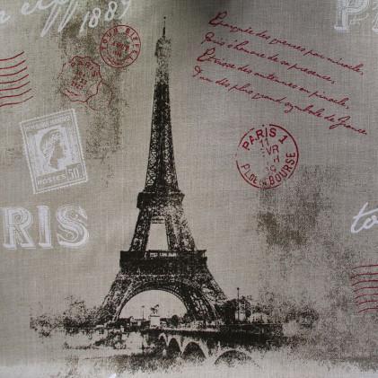 Tissu lin Tour Eiffel Taupe