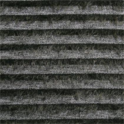 Tissu lainage maille poilue Hairy Stripe  Gris