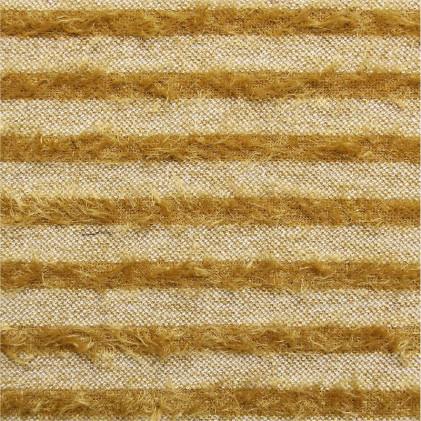 Tissu lainage maille poilue Hairy Stripe  Jaune moutarde