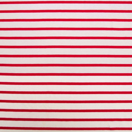 Tissu jersey Marinière Blanc / Rouge