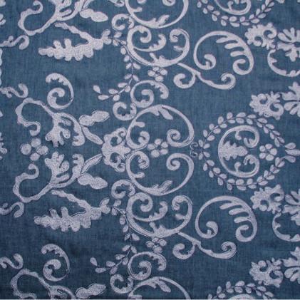 Tissu jean's brodé Baroko  Bleu