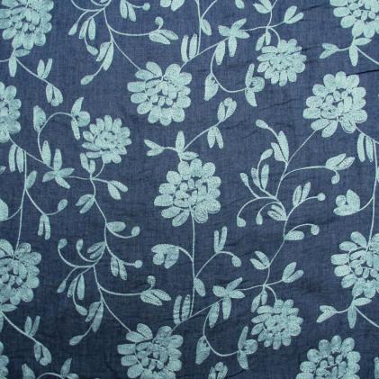Tissu jean's brodé Floryss Bleu / Bleu ciel