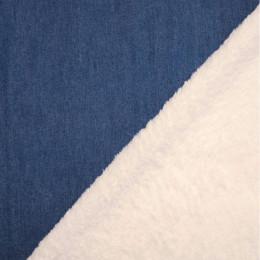 Tissu jean's doublé fourrure Mouton
