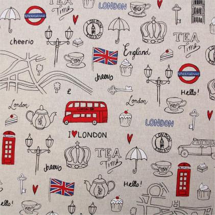 Tissu imprimé London  Beige lin / Rouge