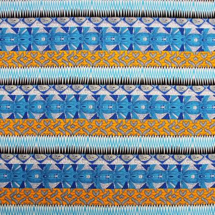 Tissu imprimé Baya Turquoise