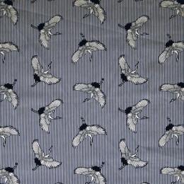 Tissu coton popeline imprimée Grue