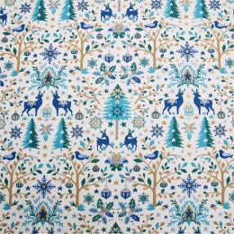 Tissu coton Noël Laponie