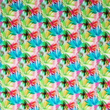 Tissu coton imprimé Païma Bleu / Rouge