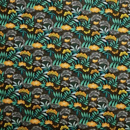 Tissu coton imprimé Oeko-Tex Nagoya  Vert emeraude
