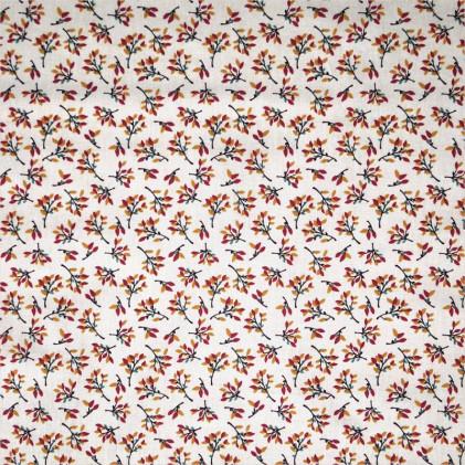 Tissu coton imprimé Oeko-Tex Hosta  Violet aubergine