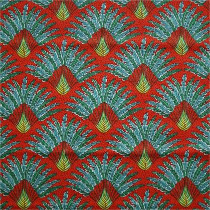 Tissu coton imprimé Oeko-Tex Madagascar  Orange