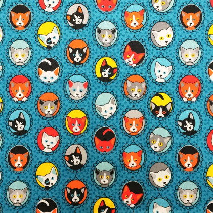 Tissu coton imprimé Familycats  Bleu