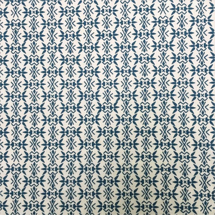 Tissu coton imprimé Boniz Beige / Bleu