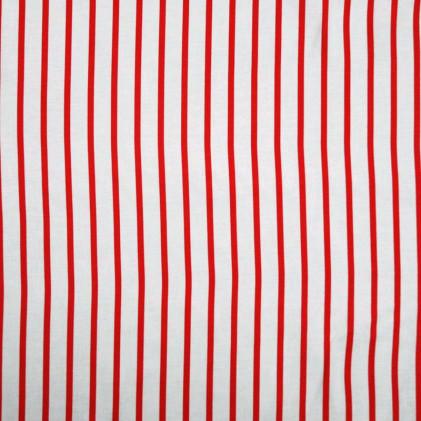 Tissu coton Bio à fines rayures Strip  Rouge