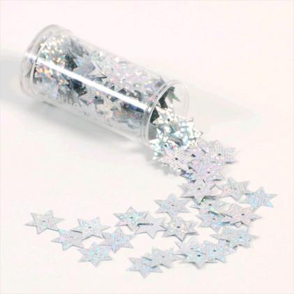 Paillettes fantaisie étoile 15 mm Gris argent