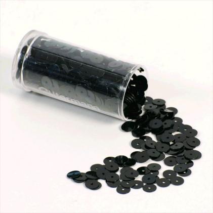 Paillettes Plates 6 mm Noir