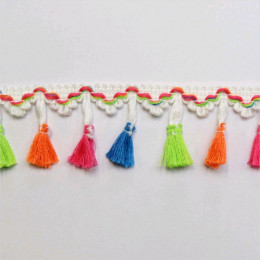Galon pompons à franges multicolores 40 mm