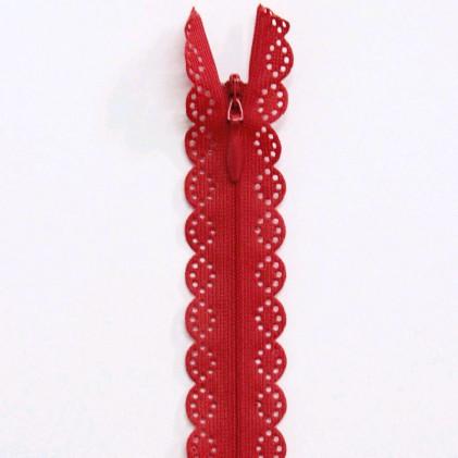 Fermeture Eclair invisible dentelle 22 cm Rouge