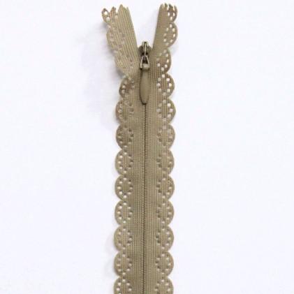 Fermeture Eclair invisible dentelle 22 cm Beige foncé