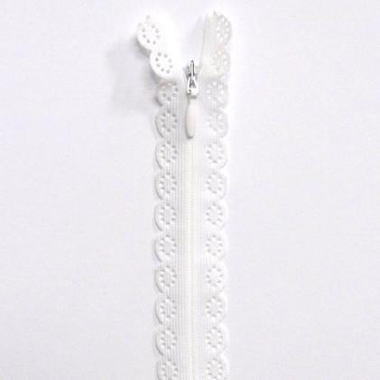 fermeture Eclair invisible dentelle 60 cm Blanc