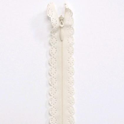 fermeture Eclair invisible dentelle 60 cm Blanc cassé