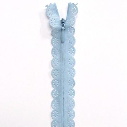 fermeture Eclair invisible dentelle 60 cm Bleu ciel