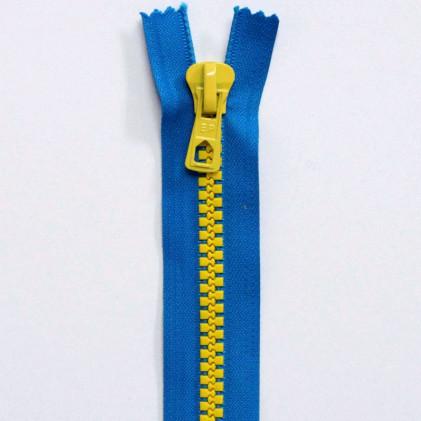 Fermeture Eclair Bicolore Non Séparable 30 cm Bleu / Jaune