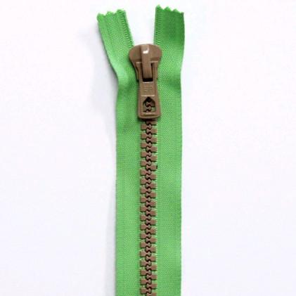 Fermeture Eclair Bicolore Non Séparable 30 cm Vert / Beige