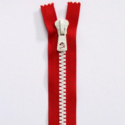 Fermeture Eclair Bicolore Non Séparable 30 cm Rouge / Blanc