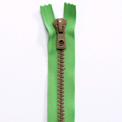 Fermeture Eclair Bicolore Non Séparable 50 cm Vert / Beige