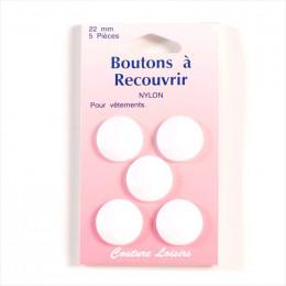Boutons à recouvrir nylon 22 mm Blanc