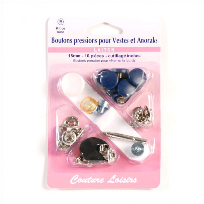 Boutons pression anorak 15 mm