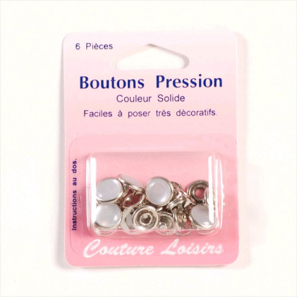 Boutons pression couleur 11 mm Perle