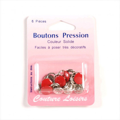 Boutons pression couleur 11 mm Rouge