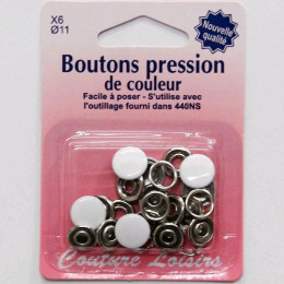 Boutons pression couleur 11 mm