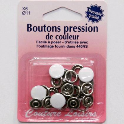 Boutons pression couleur 11 mm Blanc