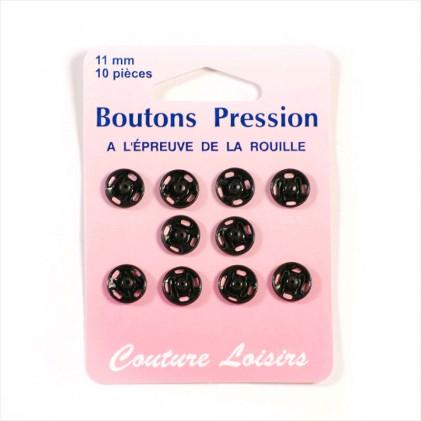 Boutons pression métal 11 mm Noir