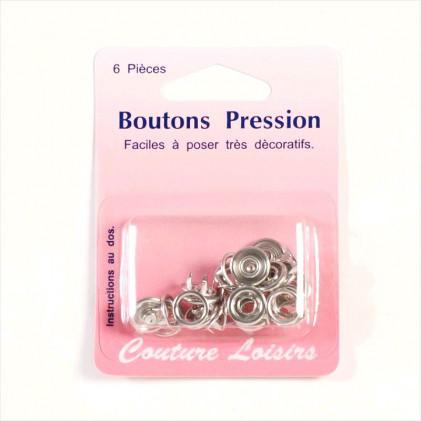 Boutons pression métal 11 mm Gris argent