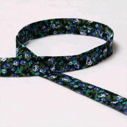 Biais replié fleuri Lina Bleu marine