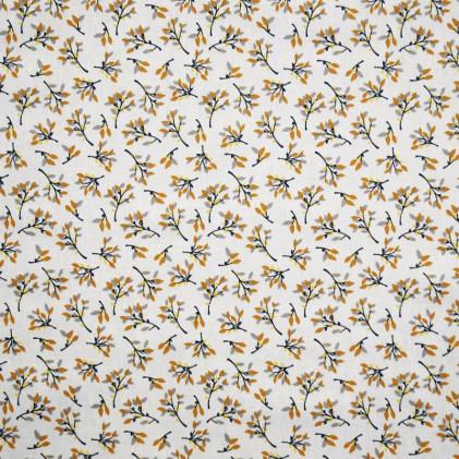 Tissu coton imprimé Oeko-Tex Hosta Ocre