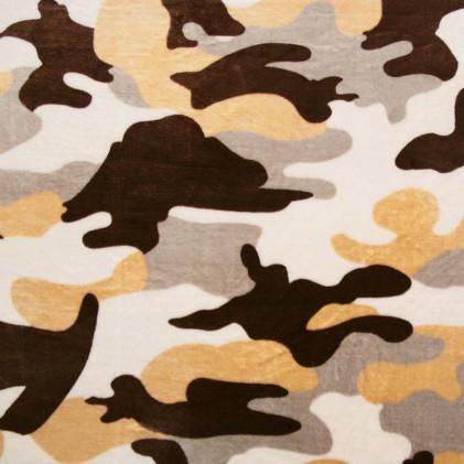 Tissu doudou Minkee Camouflage Marron / Blanc