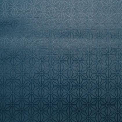 Tissu coton enduit Kyoto  Bleu canard