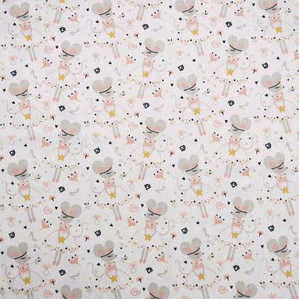 Tissu coton imprimé Oeko-Tex Souris Princesses  Blanc / Rose