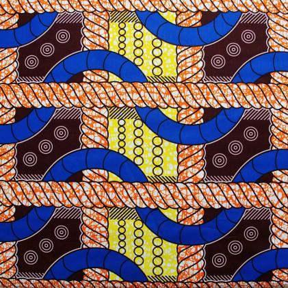 Tissu coton imprimé Wax Afsy Bleu