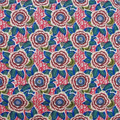Tissu coton imprimé Dahlia  Bleu / Fuschia