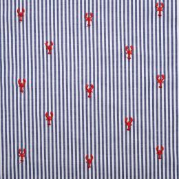 Tissu coton à rayures brodé Lobster