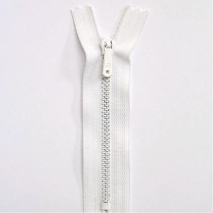 Fermeture Eclair métallique spéciale pantalon non séparable 10 cm Blanc