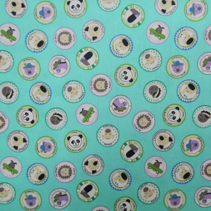 Tissu coton imprimé Animalia Bleu turquoise