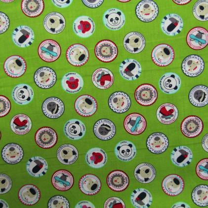 Tissu coton imprimé Animalia Vert