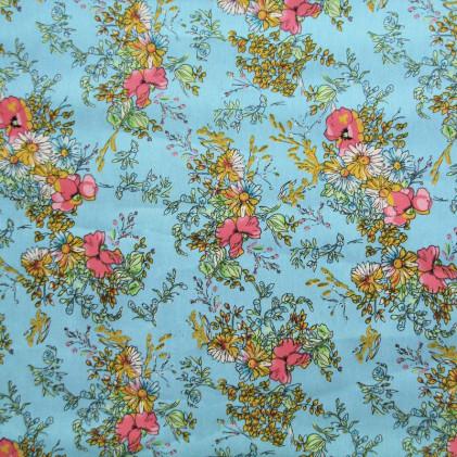 Tissu imprimé Bouquet Bleu